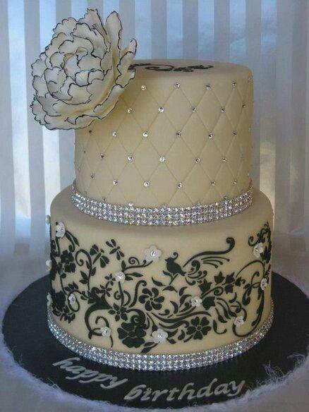 Elegant Black and White Birthday Cake