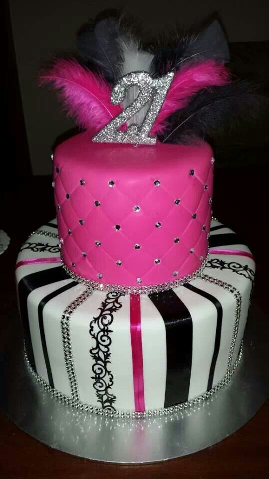 Stupendous 10 Black N Pink Birthday Cakes Photo Hot Pink And Black Birthday Funny Birthday Cards Online Overcheapnameinfo
