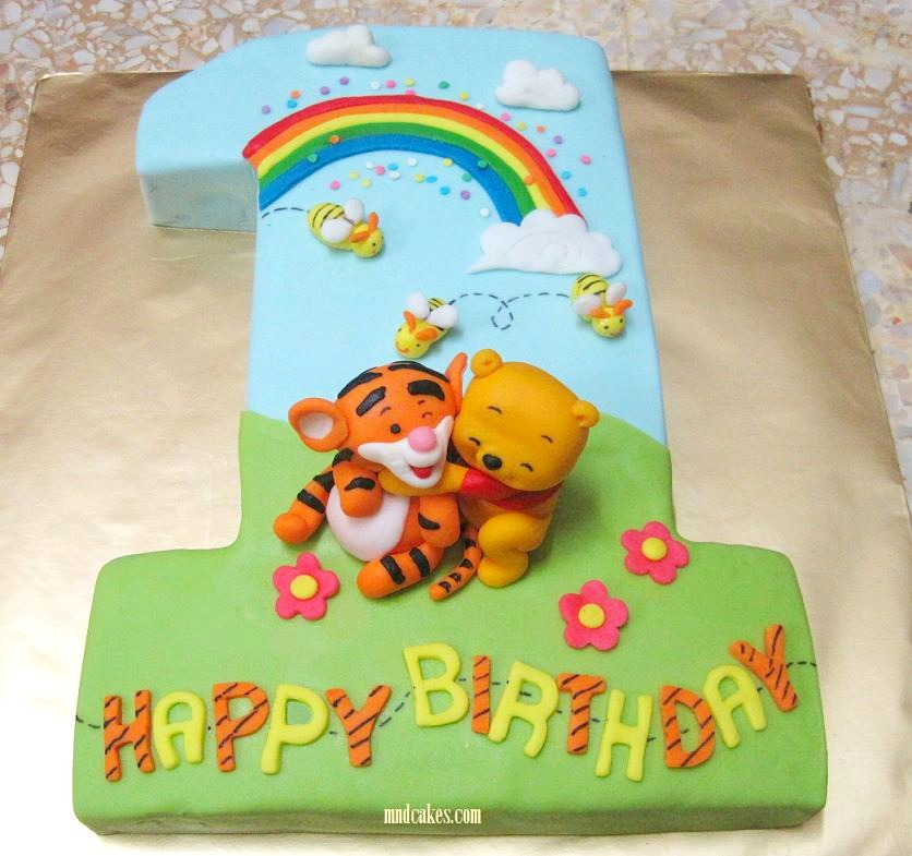 9 1 Yr Old Birthday Cakes For Boys Winnie The Pooh Photo One Year