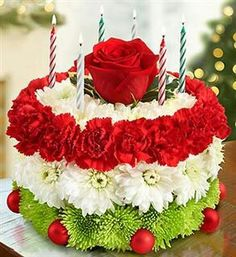 Birthday Cake Shaped Flower Arrangement