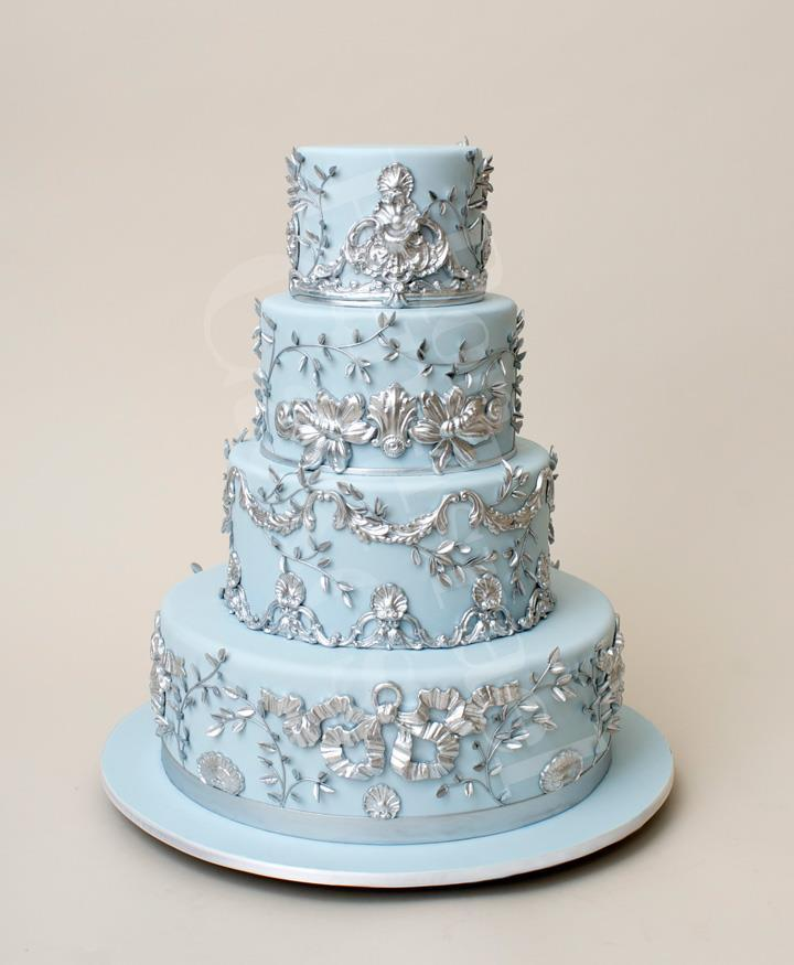 8 Blue And Sliver Winter Wedding Cakes Photo Blue And Silver