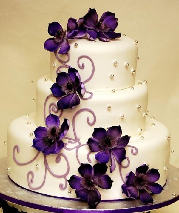 11 Purple Wedding Cakes Photo Wedding Cake with Purple Flowers