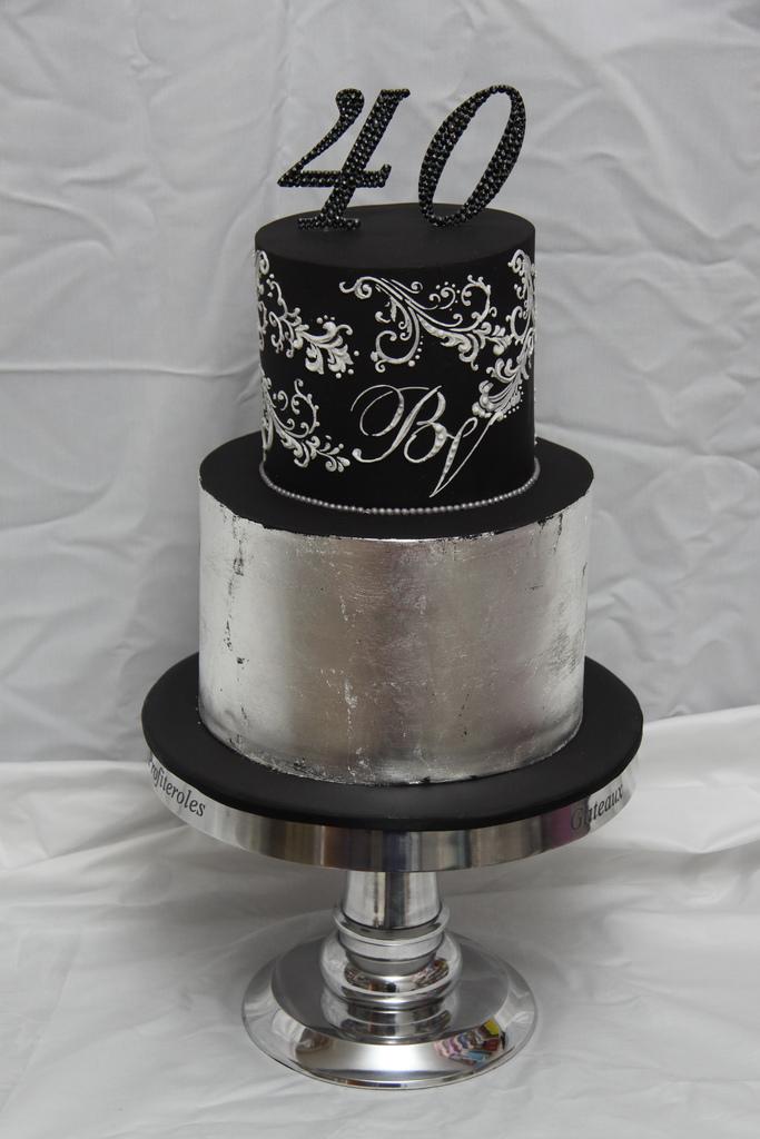Incredible 11 Silver Elegant Birthday Cakes Photo Elegant 40Th Birthday Funny Birthday Cards Online Alyptdamsfinfo