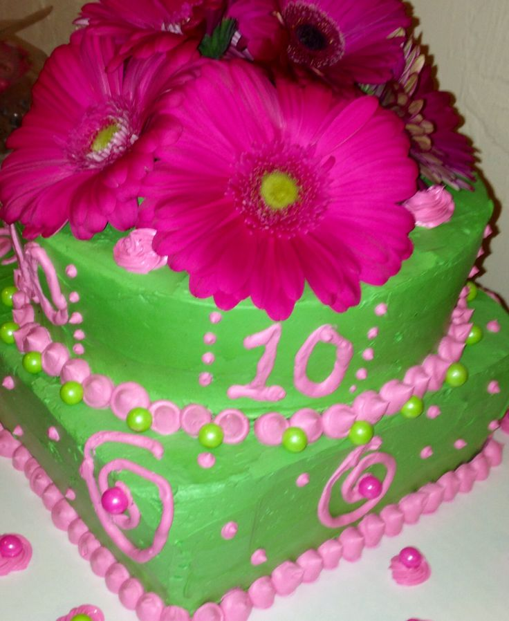 10 Blue Green And Pink For A 10 Year Old Cakes Photo Number Themed