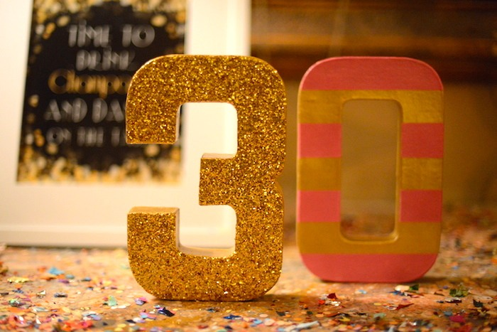 Old Gold And Pink 30th Birthday Party