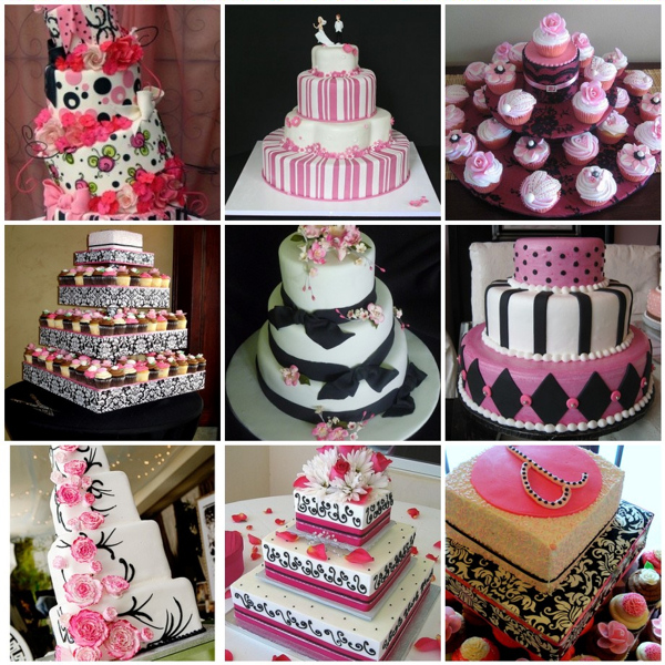 8 Hot Pink Black And White Wedding Cakes Photo - Pink Black and ...