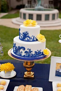 blue and yellow wedding cakes royal blue and yellow wedding cake 50085 applestory 11970