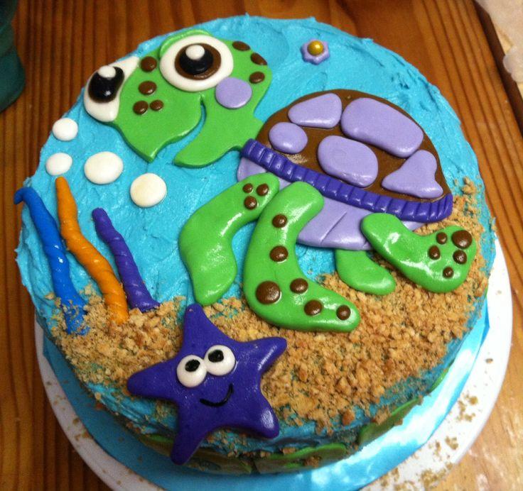 Brilliant 7 Homemade Sea Turtle Cakes Photo Homemade Turtle Birthday Cake Personalised Birthday Cards Veneteletsinfo