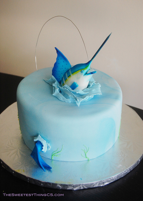 Excellent 13 Marlin Fish Birthday Cakes Photo Fishing Birthday Cake Funny Birthday Cards Online Chimdamsfinfo
