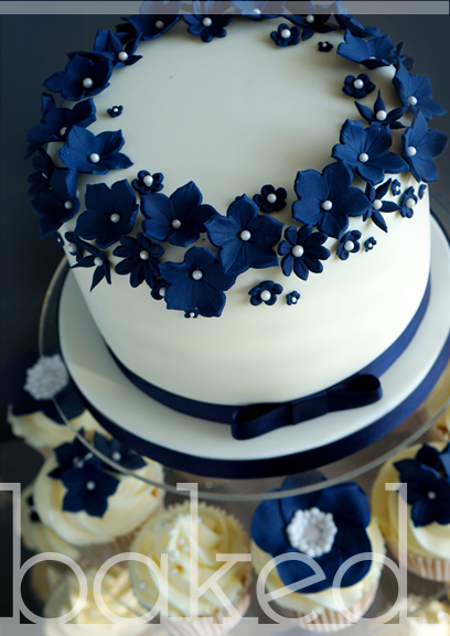 10 Navy Blue Floral Cupcakes In For Weddings Photo Navy Blue