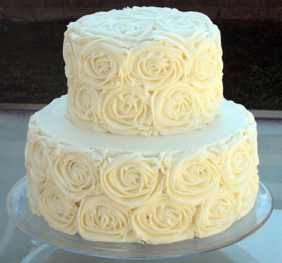 10 2 Tier Wedding Cakes With Buttercream Icing Photo - Rose Frosting ...