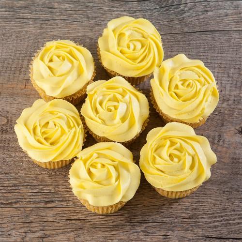 13 Iced Yellow Cupcakes With Rose Photo Yellow Rose Birthday Cake