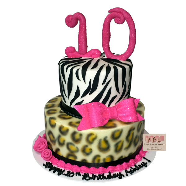 10 2 Tier Cakes For Girls 10th Birthday Photo Zebra Birthday Cakes