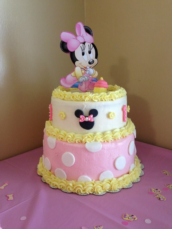 Excellent 12 Baby Minnie Birthday Cakes Photo Baby Minnie Mouse 1St Funny Birthday Cards Online Alyptdamsfinfo