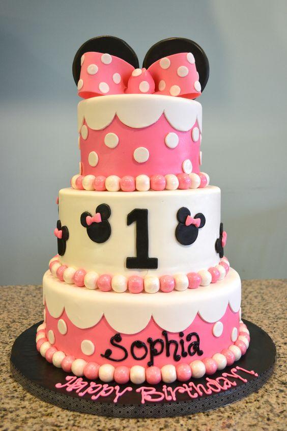 Surprising 12 Baby Minnie Birthday Cakes Photo Baby Minnie Mouse 1St Birthday Cards Printable Riciscafe Filternl