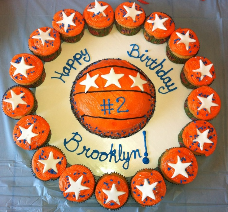 Basketball Cake With Cupcakes