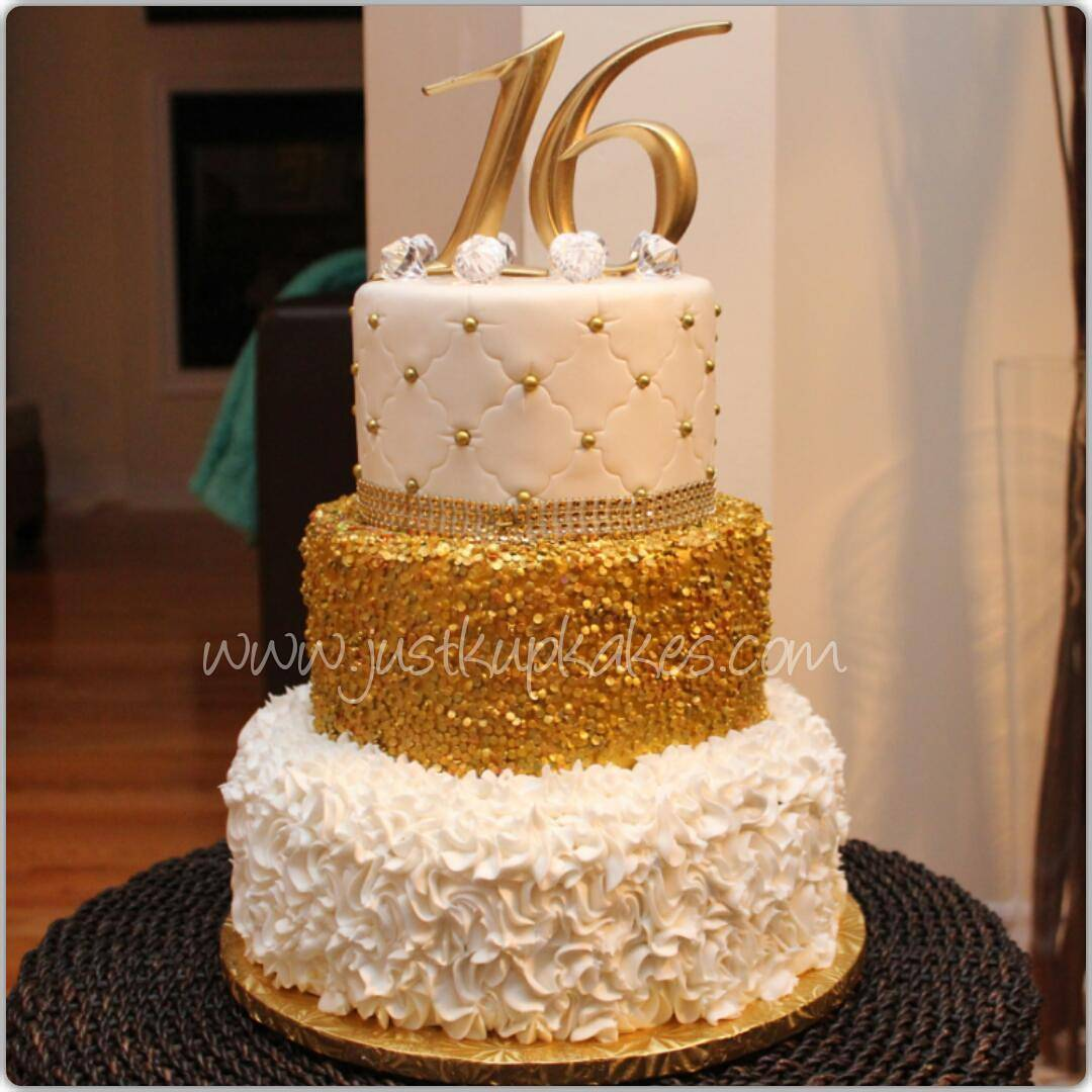 Black White And Gold Sweet 16 Cake
