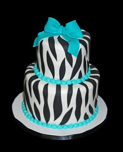 10 Photos of Blue And White Zebra Print Cakes