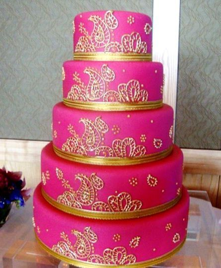 Hot Pink And Gold Wedding Cake