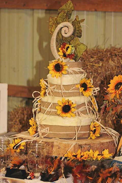 13 Pinterest Rustic Wedding Cakes With Sunflowers Photo - Rustic ...