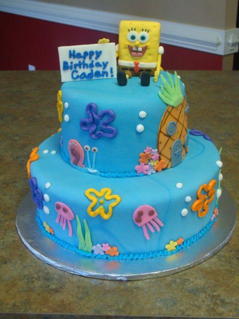 11 Made With Fondant 3 Tier Spongebob Cakes Photo Spongebob