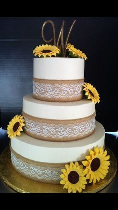 7 Cakes With Sunflowers And Burlap Photo Sunflower and Burlap