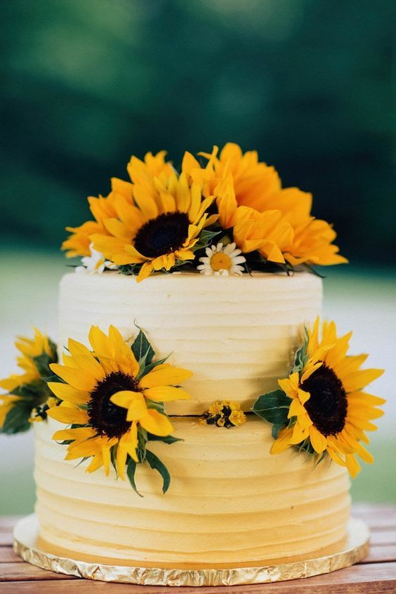 13 Pinterest Rustic Wedding Cakes With Sunflowers Photo