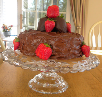Birthday Cake With Chocolate Covered Strawberries