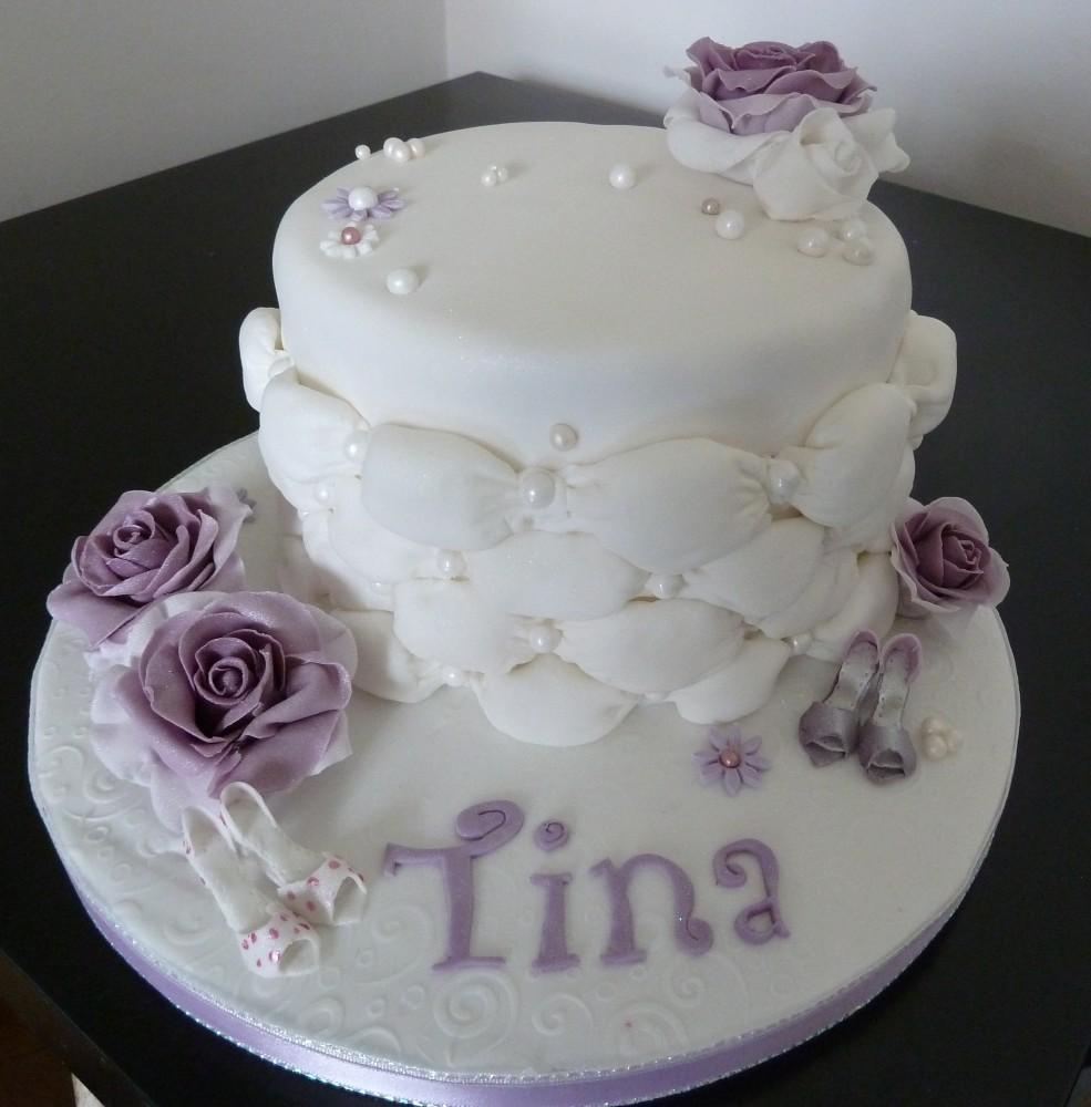 8 Purple Flower Happy Birthday Cakes Photo Birthday Cake With