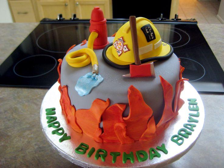 Amazing 12 Fire Helmet Birthday Cakes Photo Firefighter Birthday Cake Funny Birthday Cards Online Alyptdamsfinfo