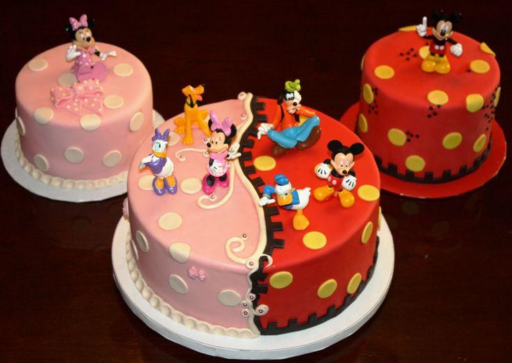 Awesome 9 Mickey And Minnie Twins Birthday Cakes Photo Mickey And Minnie Funny Birthday Cards Online Alyptdamsfinfo