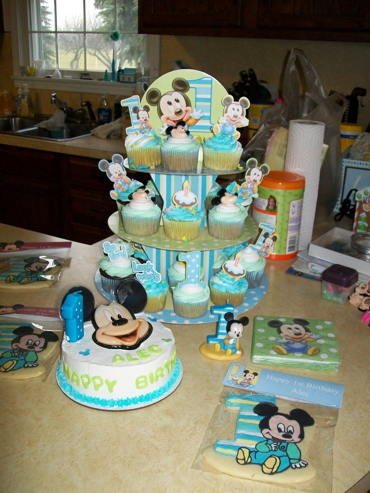 Swell 12 First Birthday Baby Mickey Mouse Cakes And Capcakes Photo Personalised Birthday Cards Veneteletsinfo