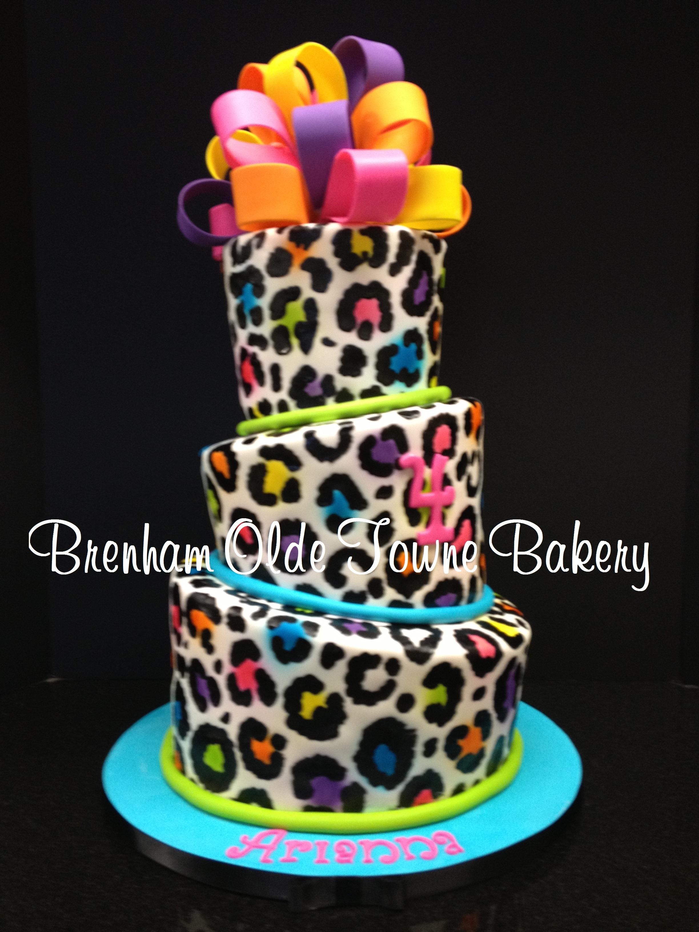 Neon Leopard Print Birthday Cake