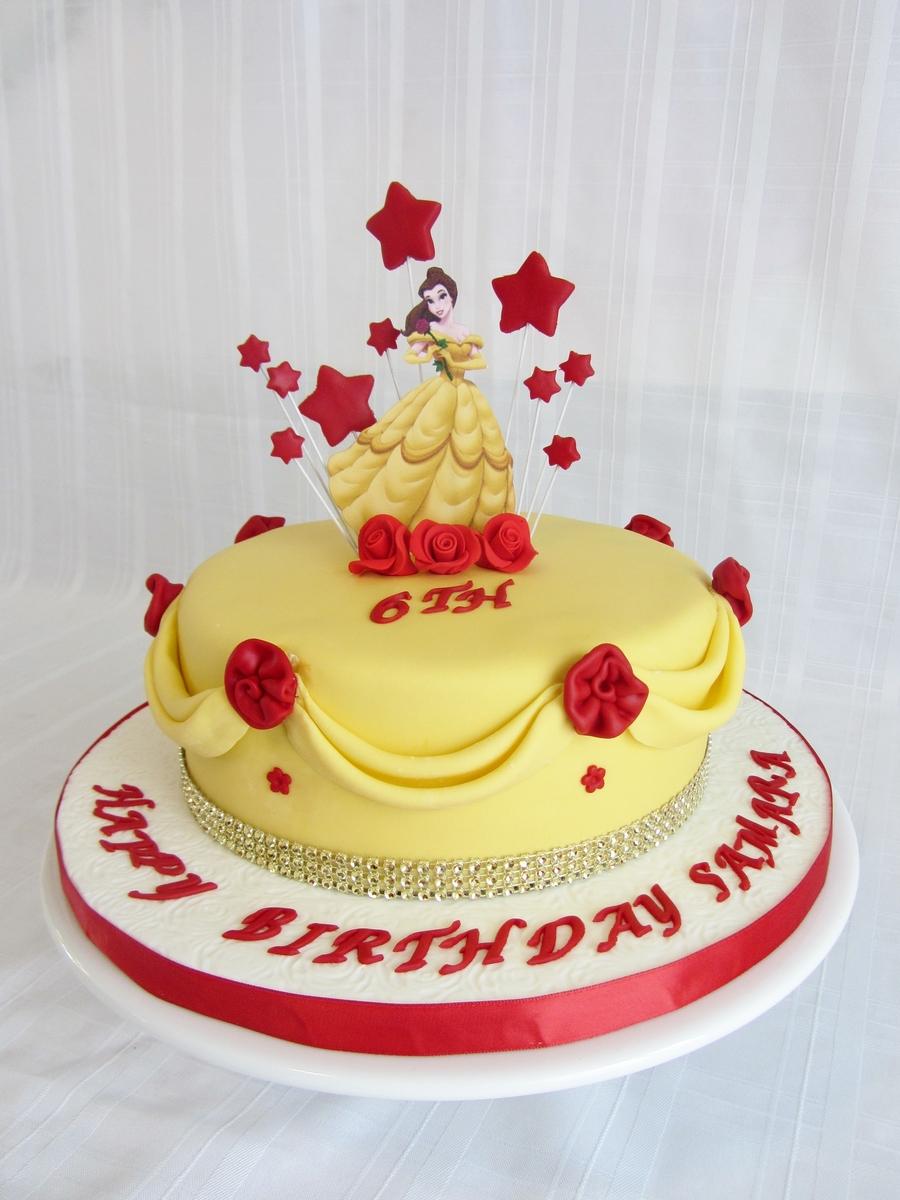 Awe Inspiring 8 Belle And Ariel Birthday Cakes Photo Disney Princess Castle Funny Birthday Cards Online Kookostrdamsfinfo