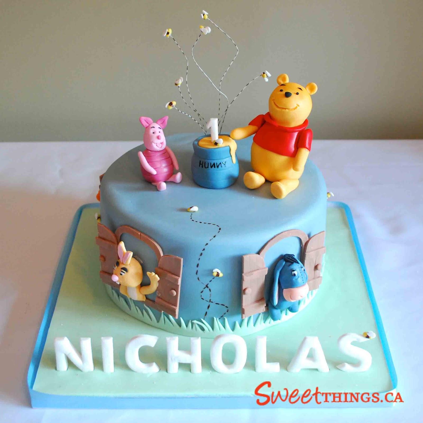 Amazing 11 Winnie The Pooh 1St Birthday Cakes For Boys Photo Chocolate Funny Birthday Cards Online Aeocydamsfinfo