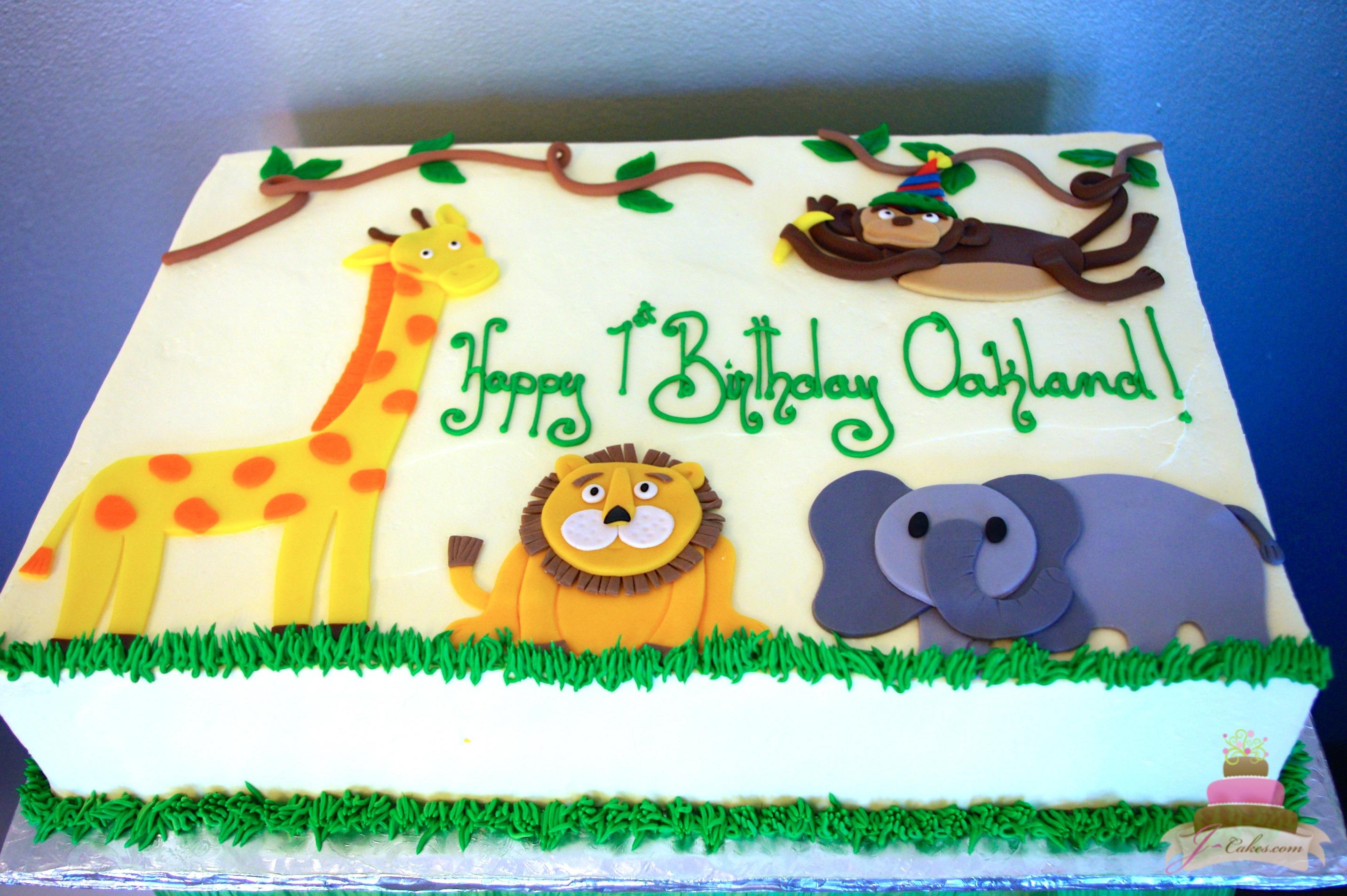 10 Zoo Animal Sheet Cakes Photo Zoo Animal Birthday Sheet Cakes