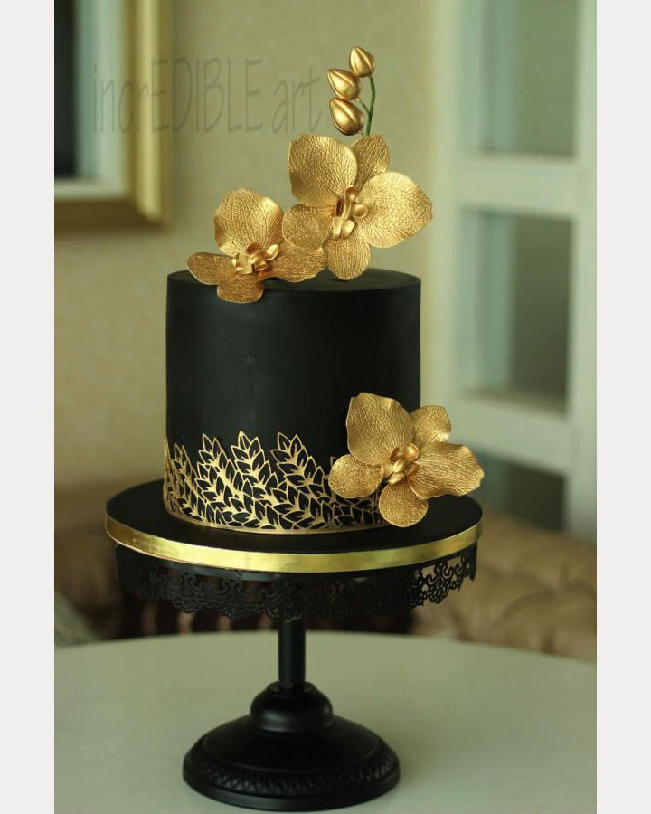 9 Black And Gold Present Cakes Photo