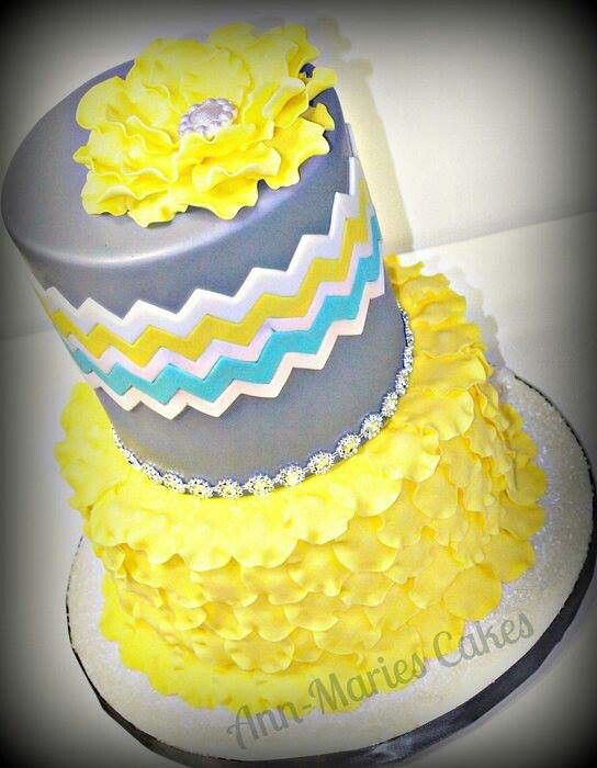 11 Yellow Chevron Wedding Cakes Fondant Photo Blue and Yellow