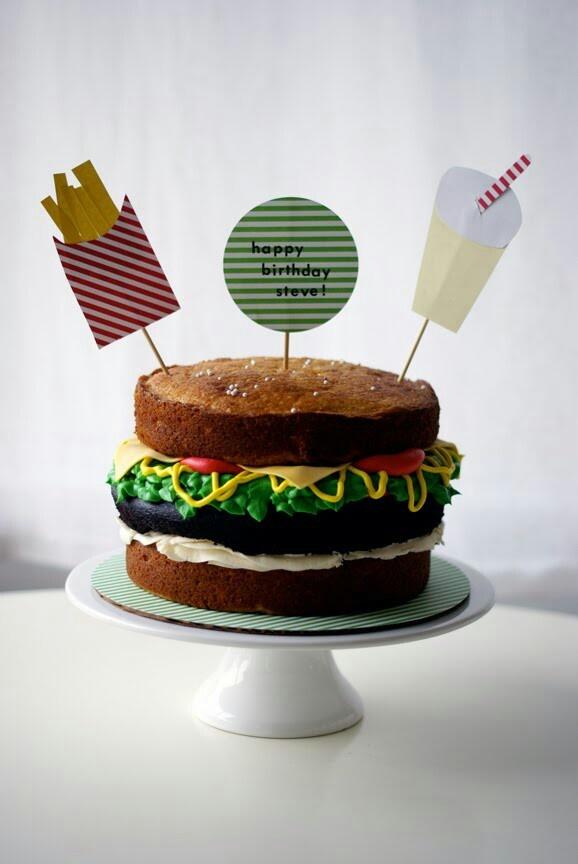 Burger Hamburger Birthday Cake