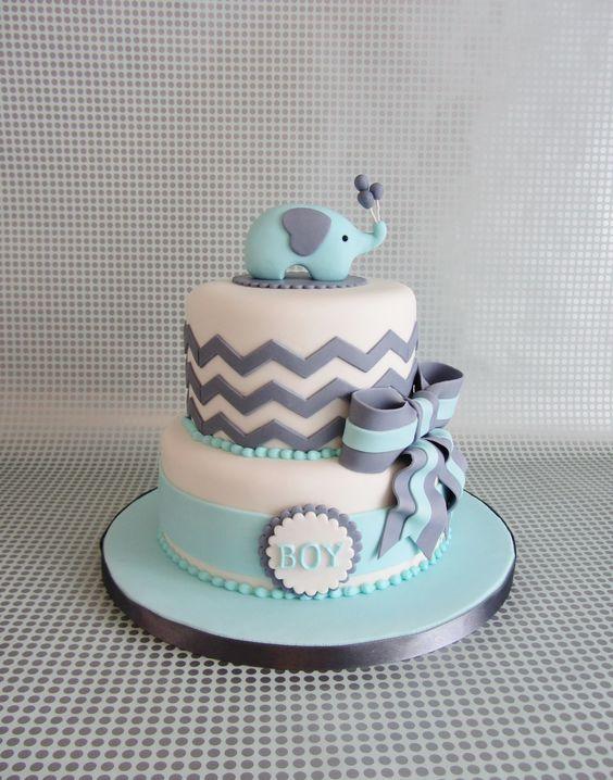 Chevron Elephant Baby Boy Shower Cake