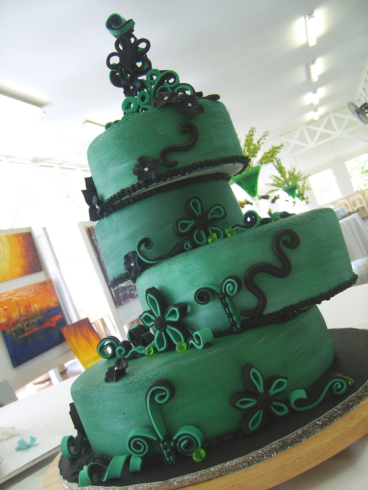 12 Dark Green And Black Wedding Cakes Photo Green And Black