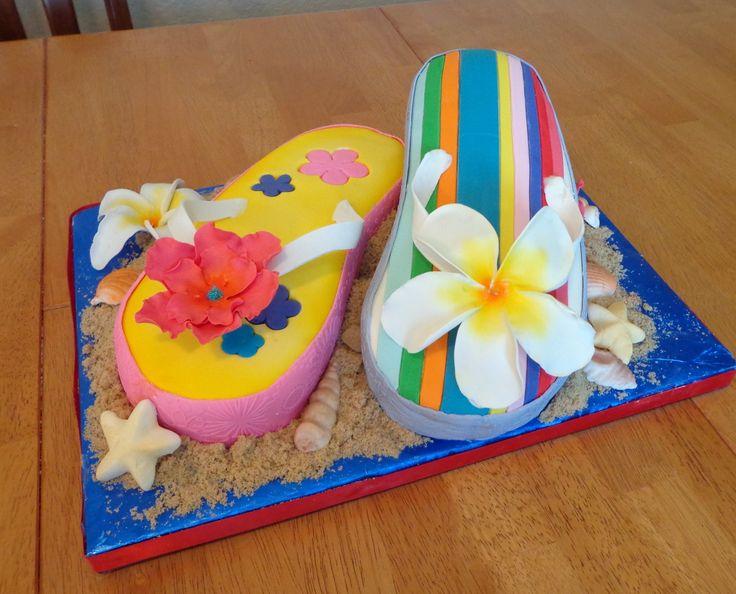 Peachy 7 Beach Party Flip Flop Cakes Photo Publix Birthday Cakes Flip Birthday Cards Printable Inklcafe Filternl