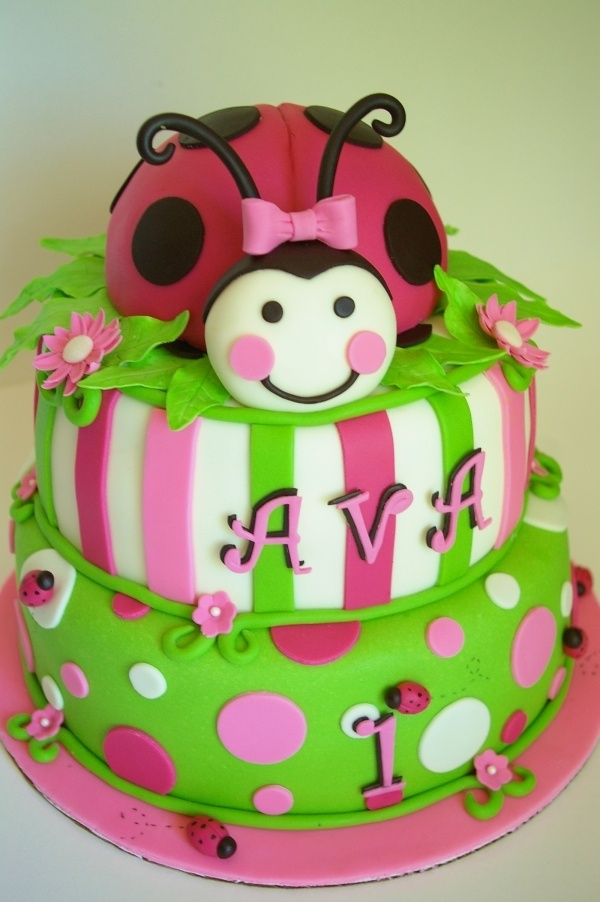 Excellent 11 Ladybug 1St Birthday Cakes For Girl Named Ava Photo Ladybug Birthday Cards Printable Benkemecafe Filternl