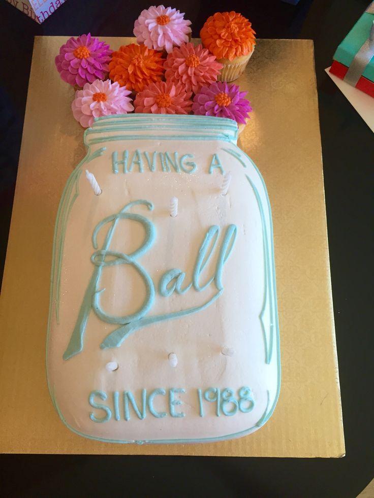 Swell 11 Ball Mason Jar Sheet Cakes Photo Mason Jar Birthday Cake Funny Birthday Cards Online Fluifree Goldxyz
