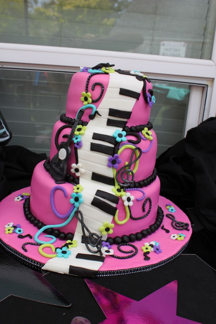7 Music Cakes For Girls Photo Music Theme Girl Birthday Cake Ideas