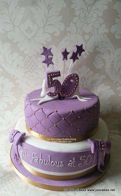 Purple And Gold 50th Birthday Cake