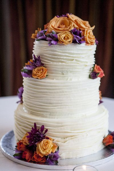 10 3 Tier Wedding Cakes Purple And Orange Photo - 3-Tier Wedding ...