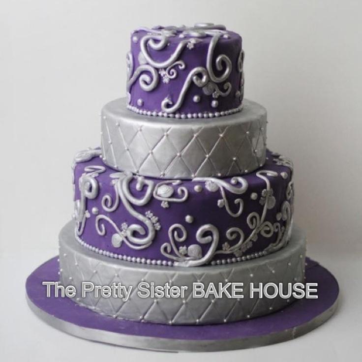 Admirable 10 Silver Cakes Purple And White Paris Photo Purple And Silver Funny Birthday Cards Online Ioscodamsfinfo