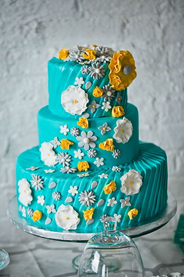 12 Teal And Yellow Wedding Cakes Photo - Yellow and Teal Wedding ...