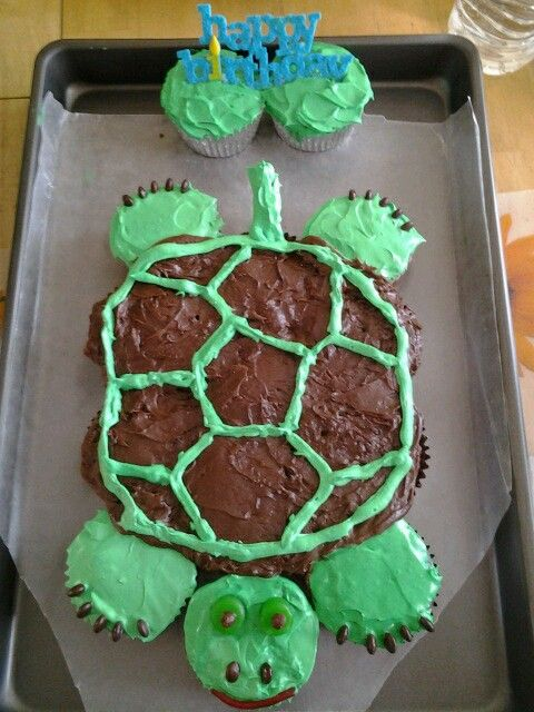 12 Pull Apart Turtle Shaped Cakes Photo Turtle Cupcake Cake